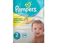 3 PACKS PAMPERS PREMIUM PROTECTION NAPPIES SIZE 2 54 PER PACK £5 PER PACK OR ALL 3 PACKS FOR £12
