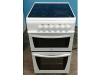 t197 white indesit 50cm ceramic hob electric cooker comes with warranty can be delivered