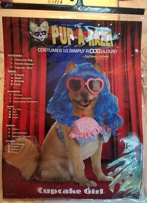 Dog Puppy Pet Costume - Cupcake Girl Blue Wig Sunglasses Size XS - Cupcake Girl Kostüm Hunde