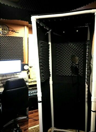"""MICBOOTH-911WIDE / Portable Stand-In Vocal BOOTH W/ Light 80"""" High"""