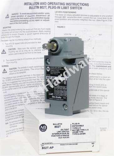 New Allen Bradley 802T-AP /J Limit Switch Plug-In Lever Type NEMA 4/13 CW/CCW