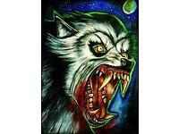 Werewolf painting acrylic A3 american werewolf in london horror buffy wolf
