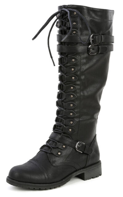 Womens Knee High Lace up Buckle Fashion Military Combat BOOTS Pu ...