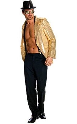 Herren Erwachsene All That Jazz Disco Deluxe Gold Pailletten Kostüm Jacke