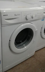 B727 white beko 6kg 1500spin AA rated washing machine comes with warranty can be delivered