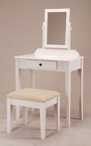 Contemporary Vanity Set with Adjustable Mirror and Stool 1205