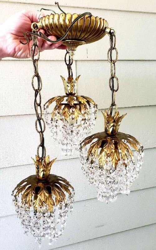 3 Tier Hanging light Vintage Swag Hollywood Regency Hanging  Brass and Crystal