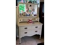 chic hand painted antique dresser with mirror