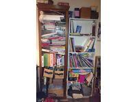 book shelves [2 white; 1 wooden]