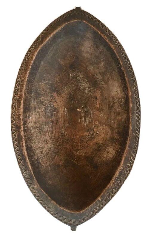 Antique Vintage Papua New Guinea Feast Food Carved Wooden Serving Bowl Massim