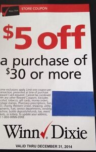 20 Winn Dixie $5 off $30. Save $100. Can be used at Publix.Expires 12/31/2014