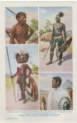 c 1925 Old Print Harmsworth - Africa - Four of The Principal Native Races