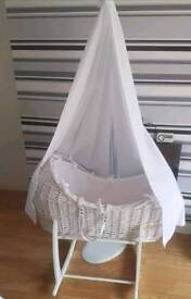 White Clair De Lune Moses Basket, stand & drapes! All in excellent condition