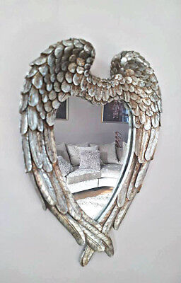 Small Antiqued Silver Angel Wings Mirror Vintage Ornate Heart Wall Mirror Decor ()
