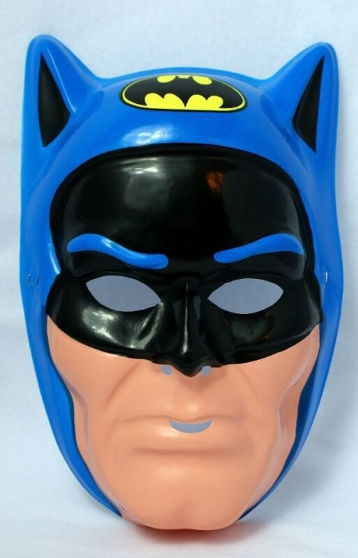 Vintage 80s Batman Super Hero Halloween Mask DC Blue Ben Cooper New York