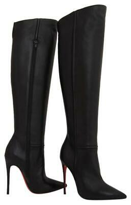 $2475 NEW CHRISTIAN LOUBOUTIN Armurabotta Black Nappa Thigh High Knee Boot 35/5