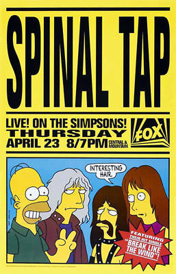 SPINAL TAP : LIVE! ON THE SIMPSONS!  -  ORIGINAL PROMO TV POSTER  -  ROLLED