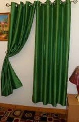 2PCS MIRA HUNTER GREEN SOLID GROMMET FAUX SILK WINDOW CURTAINS PANELS 95