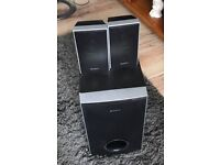 SONY SUBWOOFER WITH SPEAKERS AND WIRES