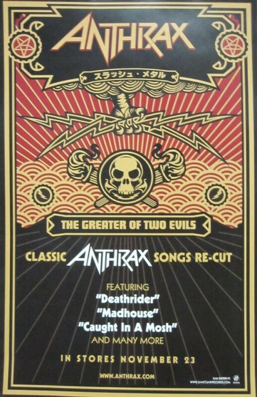 Anthrax 2004 The Greater Of Two Evils Promotional Poster Flawless New Old Stock