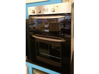 Ho46 black and stainless steel indesit double integrated electric oven comes with warranty