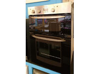 Fo46 black and stainless steel indesit double integrated electric oven comes with warranty