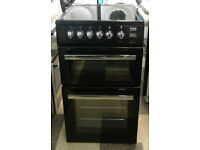 a025 black beko 50cm double oven ceramic hob electric cooker comes with warranty can be delivered