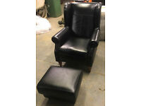 Brand New Heart of House Argyll Leather Armchair And Footstool - Black. (In store £670)