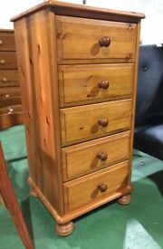 Pine slim drawers wooden tallboy