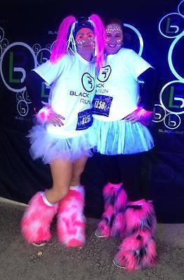 Cow Camo rave fuzzy leg warmers furry boot covers fuzzies fluffies fluffy neon  (Camo Boot Covers)