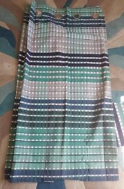Brand new NEXT Teal check Blackout Eyelet Polycotton curtains 135 cm x 137 cm 53 x 54 ""