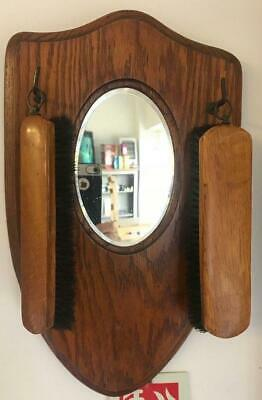Antique Oak Hall Mirror & Brush Set Shield Shape With Rectangular Beveled Mirror