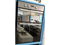 Eo38 mirrored finish hotpoint double integrated electric oven comes with warranty can be delivered