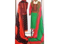Unstitched Cotton Black and Orange Suit - Zee.H.M Fashion