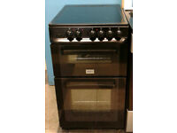 a737 black zanussi 50cm double oven ceramic hob electric cooker comes with warranty can be delivered