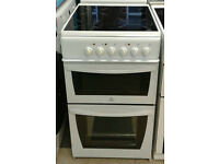 N223 white indesit 50cm ceramic hob electric cooker comes with warranty can be delivered