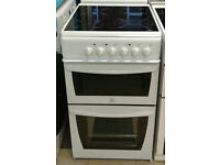 O223 white indesit 50cm ceramic hob electric cooker comes with warranty can be delivered