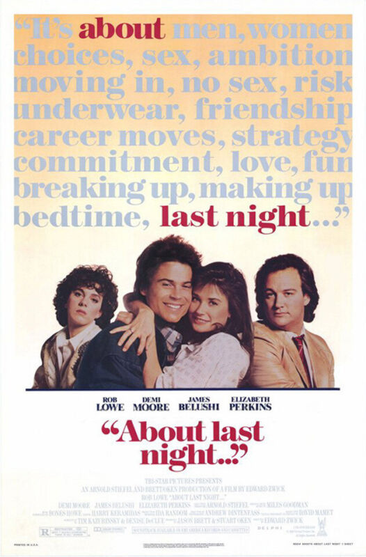 About Last Night (1986) original movie poster - single-sided - rolled