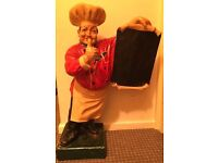 Chef Statue Figurine With Menu Board