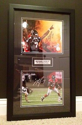 Atlanta Falcons Picture Frame - Michael Vick 2x Signed Framed Falcons Football Photo Picture COA Eagles Steelers