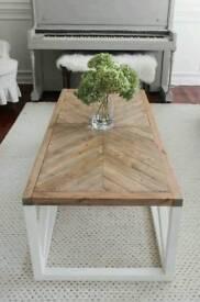 Farmhouse herringbone coffee table