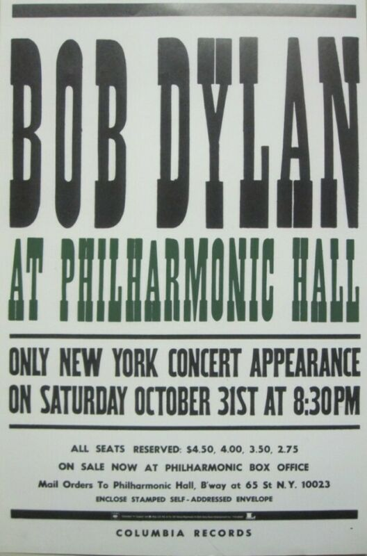 Bob Dylan 2004 Live At Philharmonic Hall promo poster Flawless New Old Stock