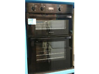 E370 black hotpoint integrated double electric oven comes with warranty can be delivered