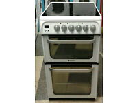 a733 white hotpoint 50cm ceramic hob double oven electric cooker come with warranty can be delivered