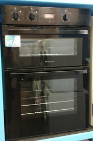 *370 black hotpoint integrated electric double oven comes with warranty can be delivered or collect