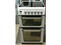 e733 white hotpoint 50cm double oven electric cooker comes with warranty can be delivered