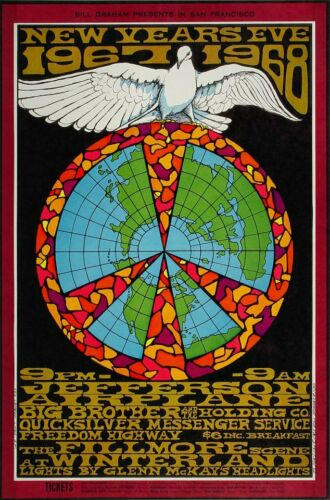 Jefferson Airplane 1967 New Years Eve Winterland Concert Poster