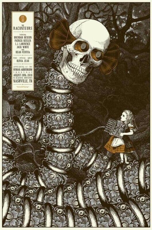 #/333 RACONTEURS Ryman 2019 SHOW PRINT Nashville Poster Jack White Stripes #1