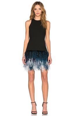 ELIZABETH and JAMES Black Blue Dania Ostrich Feather Sleeveless Mini Dress 4 NWT - Black Ostrich Feather Dress