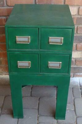 4 Drawer Metal Index Card File Box Cabinet With Stand Painted Green Excellent